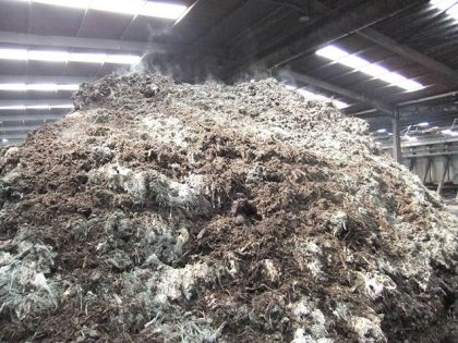 Compost pile formed from the output of the in-vessel silo